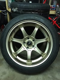 chrome 5-spoke car wheel with tire Gaithersburg, 20878