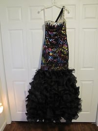 Yellow,pink,black,and blue sequined black ruffled one shoulder dress Columbia, 29210