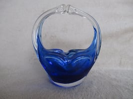 Decorative Blue Art Glass Basket Bowl 6x3""
