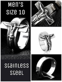 New men's sz 10 stainless steel ring. Cross with Christ on crucifix.  Odessa, 79761