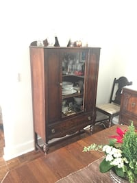 brown wooden framed glass display cabinet Toronto, M4M 2B2