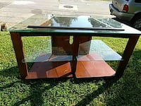 brown wood-framed glass-top TV stand New Castle, 19720