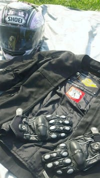 black and gray leather jacket Burnaby, V3N 4R8