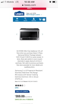 Sumsung Microwave Oven 30 inch 224 mi