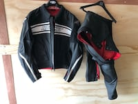 black and gray Harley-Davidson leather zip up jacket