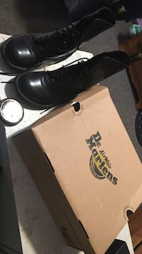 Pair of black Dr. Martens airwair boots with box Vancouver, V5N 2X1