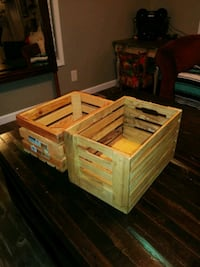 2 Wooden Crates. Stacking, NOT NESTING Goose Creek, 29445