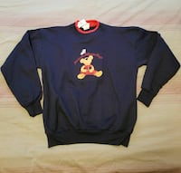blue and red crew-neck sweater