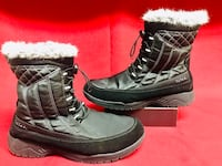 TOTES EVE Black Women's Winter Boots Fuax Fur Insulated Waterproof Snow 8M