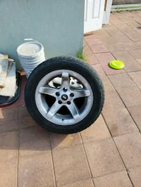 gray 5-spoke car wheel with tire set North Las Vegas, 89032