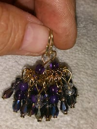 New Fashion Purple & Gold Chandelier Earrings