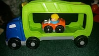yellow and blue plastic dump truck toy Valles Mines, 63087