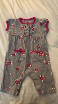 toddler's gray and red floral onesie