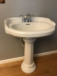 white ceramic pedestal sink with faucet Abingdon, 21009