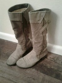 women's gray suede side-zip knee-high boots Beaverton, 97008