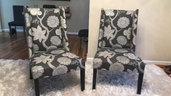 Black and white floral chairs. Bought in April 2018 for 450. Its is great condition.