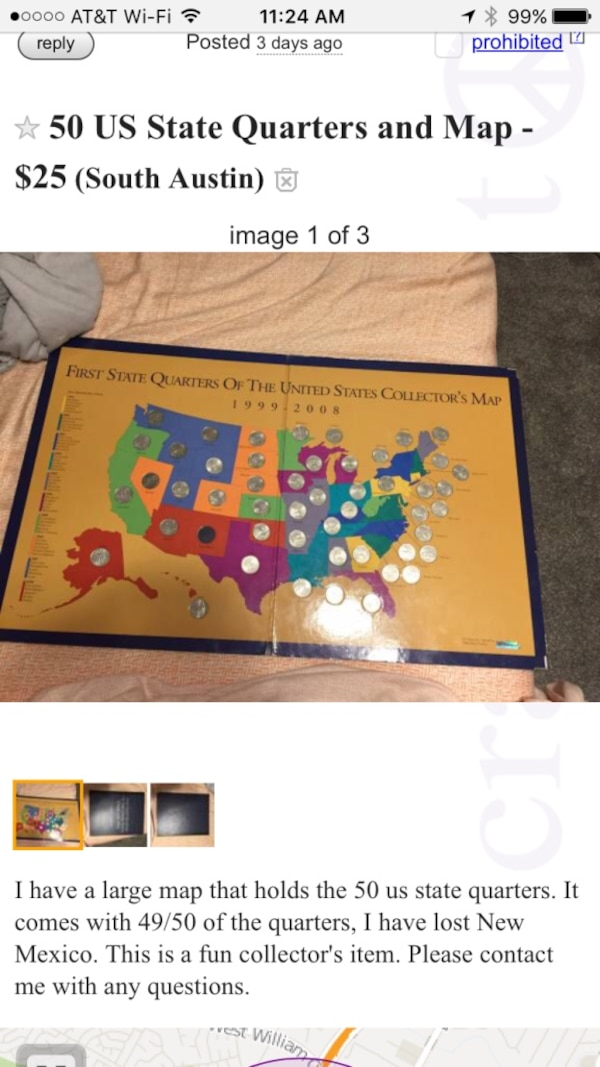 Used 50 US State Quarters and map for sale in Austin - letgo