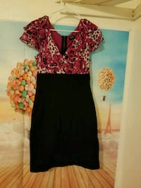 women's red and black floral dress