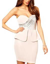 Lipsy blush pink xs strapless dress