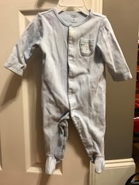 Boys footed pajamas with matching hat 6m