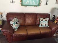 Leather couch, loveseat, chair & ottoman