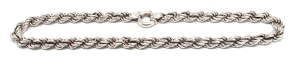Ladies Sterling Silver Rope Necklace