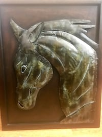 "Beautiful Metal Horse Wall Art 35"" x 28"". Great Quality. Excellent Used Condition. Absolutely love this. Only selling because we moved to a smaller home and no place to put it up.  Carlsbad, 92009"