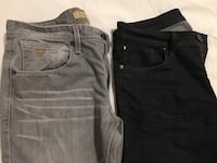 two black and gray denim jeans for men's