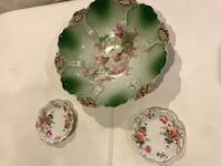 green and pink floral ceramic plate Arlington