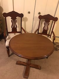 """3 pieces wood dining set 32"""" round 30"""" hight table 2 curved chairs beige cushion fabric new click on my profile picture on this page for more listings pick up in Gaithersburg md 20877 Gaithersburg, 20877"""