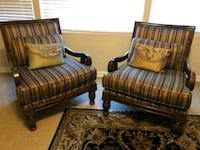 two brown wooden framed brown padded armchairs Henderson, 89011