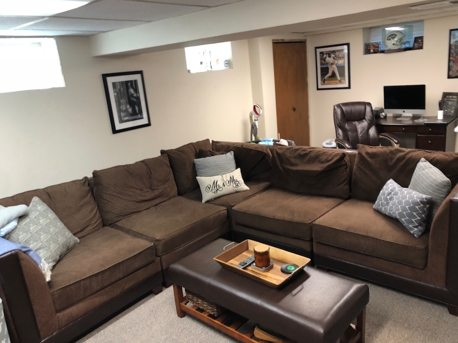 Brown Microfiber Sectional Sofa With Throw Pillows