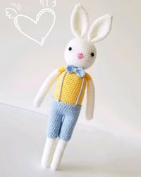 white and blue rabbit amigurumi Toronto