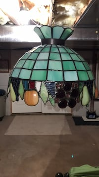 Green and white stained glass pendant lamp Drums, 18222