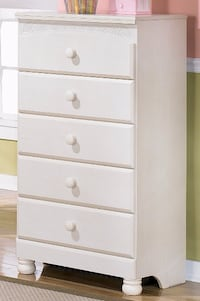 Ashley Furniture, Signature Collection, Cottage White Armoire & Chest of Drawers Henderson