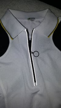 white, black and yellow zip-neck t-shirt