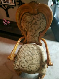brown wooden framed beige floral padded armchair 3141 km