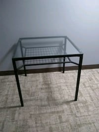 square glass-top table with black steel frame Washington, 20024