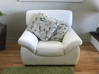white leather sofa chair with throw pillow Laval, H7K 3N5