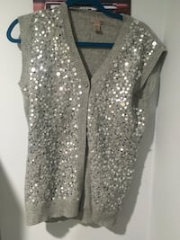 H&M retro long sweater vest with silver sequins size 4