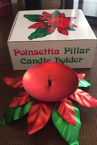 Christmas Poinsettia Pillar Candle Holder New York, 11361