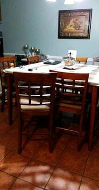 rectangular brown wooden table with six chairs dining set Orlando, 32837