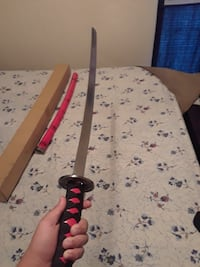 Katana sword red and black with black smoke design