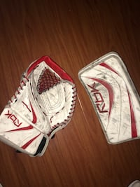 white, red, and black Rbk leather glove Coquitlam, V3J