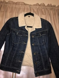 blue denim button-up jacket