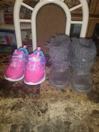 Size 5 toddler's pink shoes and grey winter Brooklyn, 11234