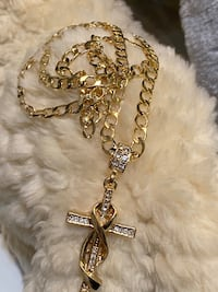 Gold Plated Cross Pendant With Chain Necklace