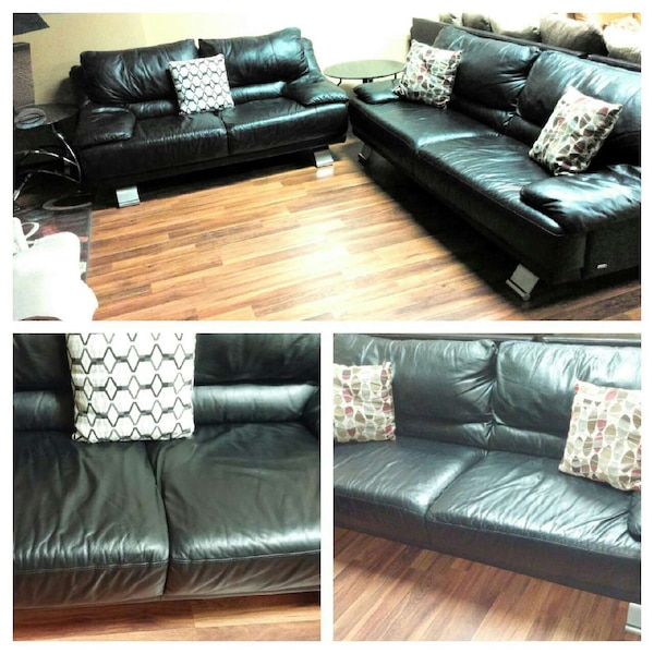 Italsofa BLACK Leather couch & loveseat SET Free D