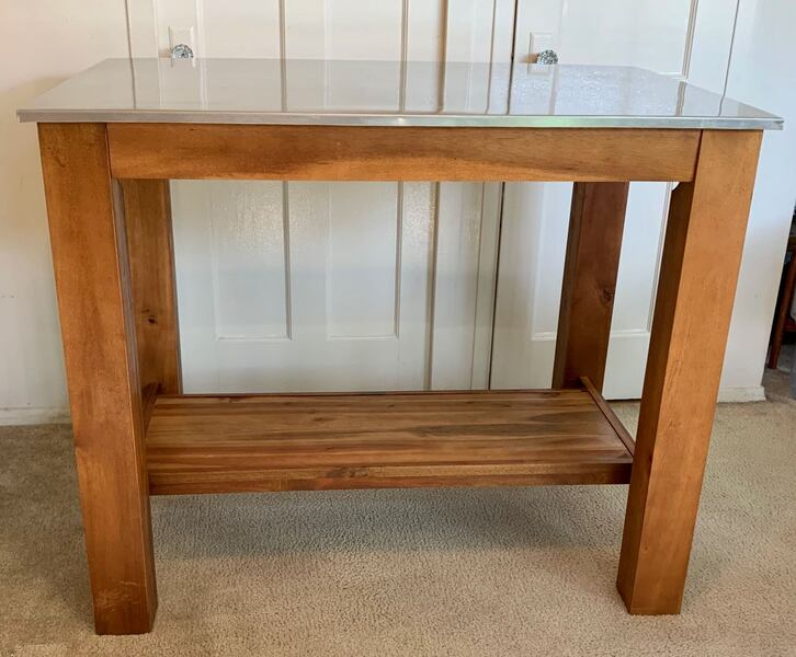 West Elm Rustic Wood Table with Stainless Steel Top 9e7fd779-0dc6-4c40-af05-e7131c36d5eb