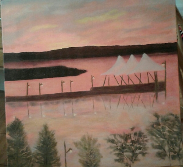 white canopy tent near large body of water painting